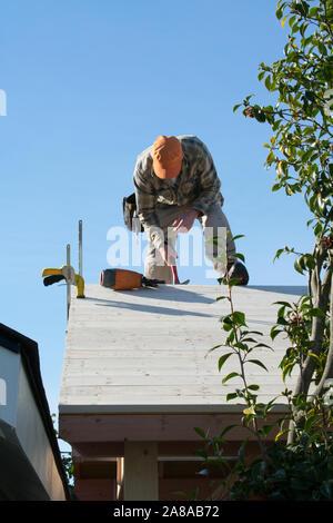 Gazebo, toit du bâtiment de l'homme Construction authentique, M. Banque D'Images