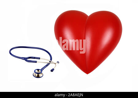 Rotes Herz, orgue, Gesundheit, Körperteil, Stethoskop, Untersuchung, Banque D'Images