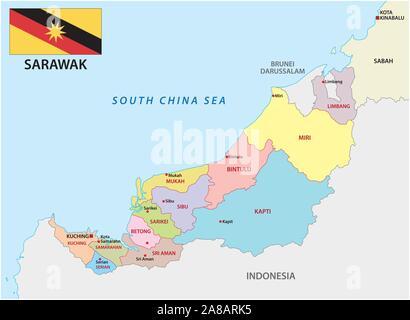 La carte administrative et politique de la division de Malaisie sarawak avec drapeau Banque D'Images
