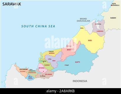 La carte administrative et politique de la division de Malaisie sarawak Banque D'Images