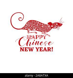 Le Nouvel An chinois symbole de rat. Animal vecteur signe du zodiaque avec Sakura et pièces de monnaie chinoise de remplissage à motifs. Conception isolés pour couper ou découper des fichiers papier. Bannière cadeaux ou Poster, Carte postale Oriental gravé Banque D'Images