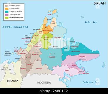 La carte administrative et politique de l'état de Malaisie sabah Banque D'Images