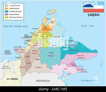 La carte administrative et politique de l'état de Malaisie sabah avec drapeau Banque D'Images