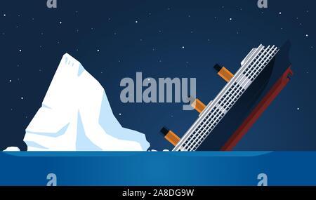 Naufrage Titanic a coulé transatlantique Iceberg, vector illustration cartoon. Banque D'Images