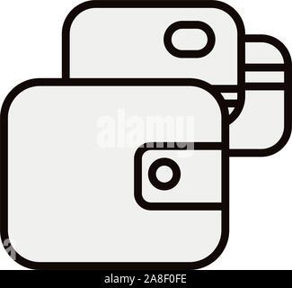 Porte-monnaie et cartes de crédit isolées conception vectorielle Banque D'Images