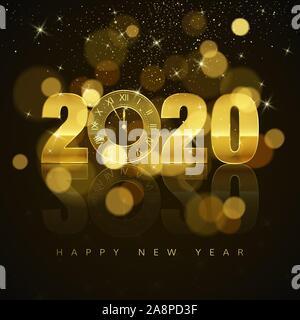 Nouvelle Année Poster avec texte d'accueil. Horloge dorée au lieu de zéro en 2020. Maison de vacances élément de décoration pour la Bannière ou invitation. Banque D'Images