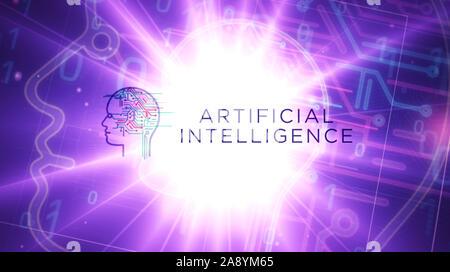 L'Intelligence Artificielle futuristic lumineuses le rendu 3D illustration. Concept de l'IA, la technologie cybernétique, l'apprentissage automatique et cerveau cybernétique. Banque D'Images