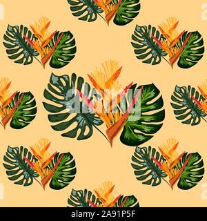 Motif jungle d'été avec des fleurs tropicales heliconia ou au homard, griffes, arrière-plan. Banque D'Images