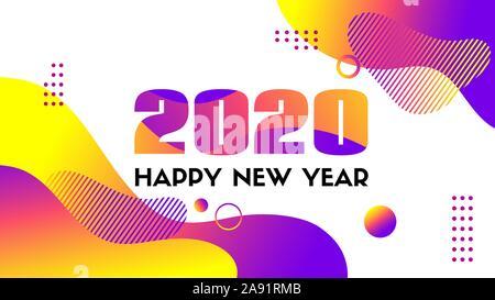 Bonne année 2020. Carte de vœux vecteur avec des formes fluides liquides. Abstract background liquide coloré Banque D'Images