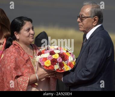 Katmandou, Népal. 12 Nov, 2019. Le Président népalais Bidhya Devi Bhandari (L) se félicite que le Président du Bangladesh M Abdul Hamid à l'aéroport international de Tribhuvan à Katmandou, capitale du Népal, le 12 novembre 2019. Le président du Bangladesh M Abdul Hamid est arrivé à Katmandou le mardi pour quatre jours de visite officielle. Credit: Str/Xinhua/Alamy Live News