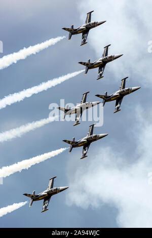 Le Breitling Jet Team à l'exécution 2016 Thunder over Michigan Airshow dans leur formation de l-39 Albatros.