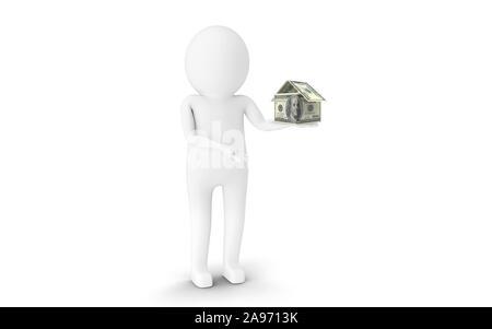 3D Man est maintenant chambre papier forme cents dollars américains contre l'arrière-plan blanc. Le rendu 3D.