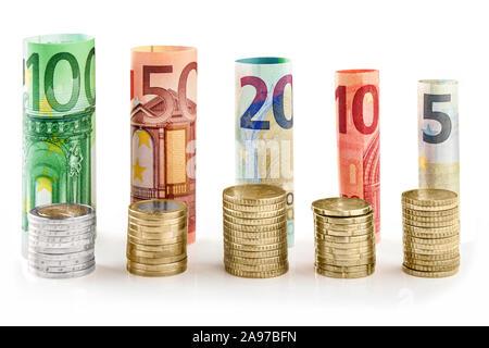 Euro contre le fond blanc Banque D'Images