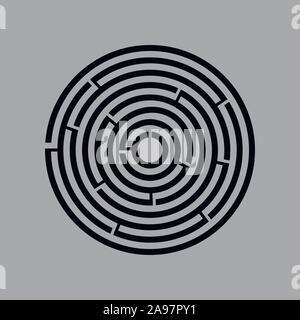 Labyrinthe Labyrinthe vecteur cercle jeu. Puzzle labyrinthe circulaire ronde avec la solution. Labyrunth complexes avec des plate, bon pour le fond, jeu, connectez-vous Banque D'Images