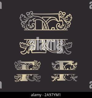 Split, Split monogrammes alphabet lettre Alphabet monogramme, font du châssis. Modèle de coupe au laser. Monogramme initiale des lettres. Banque D'Images