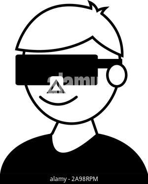 Avatar avec smartglasses icône concevoir, jouer des jeux vidéo la technologie des jeux de loisirs numériques de divertissement et joie thème Vector illustration Banque D'Images
