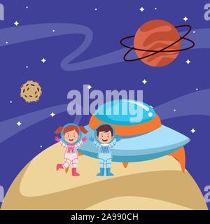 Les astronautes cartoon kids et soucoupes dans l'espace avec les planètes Banque D'Images