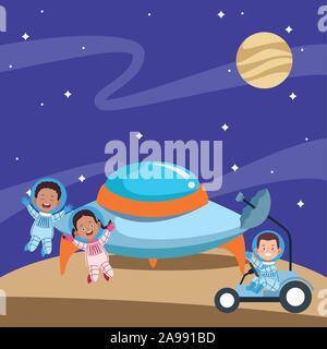 Cartoon happy kids les astronautes dans l'espace Banque D'Images