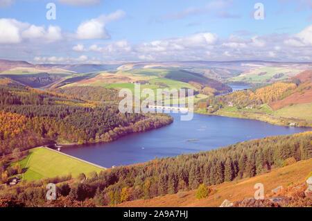 Paysage d'automne vue depuis Bamford Edge surplombant Ladybower Reservoir et Ashopton / Pont, Viaduc de la vallée de l'espoir, Peak District, Derbyshire, Royaume-Uni Banque D'Images