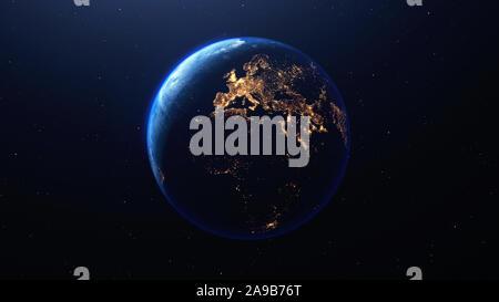 Planète Terre vue de l'espace montrant la nuit les lumières de l'Europe et l'Afrique, rendu 3D, des éléments de cette image fournie par la NASA Banque D'Images