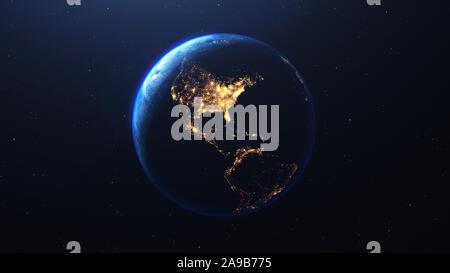 Planète Terre vue de l'espace de nuit montrant les lumières d'Amérique USA , 3D render, éléments de cette image fournie par la NASA Banque D'Images