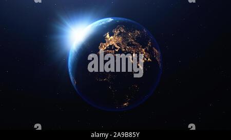 Planète Terre avec le soleil Vue de l'espace montrant la nuit les lumières de l'Europe et l'Afrique, rendu 3D, des éléments de cette image fournie par la NASA Banque D'Images