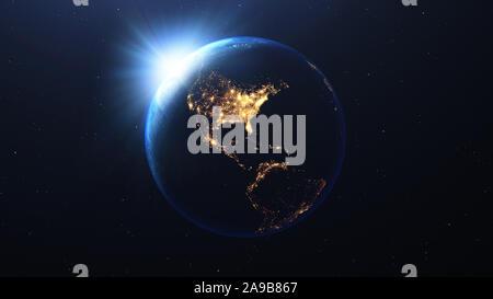 Planète Terre avec le soleil de nuit vue de l'espace montrant les lumières de la United States of America USA , 3D render, élément de cette image par la NASA Banque D'Images