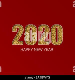 Gold glitter brillant numéros lumineux 2020 ,conception de carte de souhaits, la chute de confettis brillants, Vector illustration. Banque D'Images