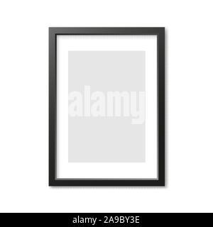 Rectangulaire gris cadre photo 3d avec l'ombre. Vector illustration Banque D'Images