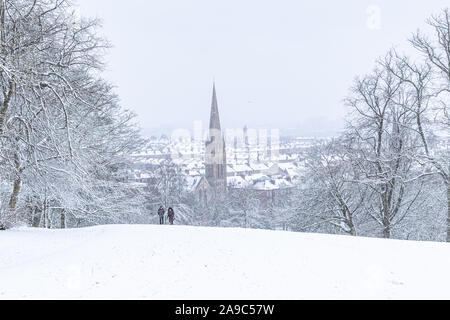 Les fortes chutes de neige à Glasgow Banque D'Images