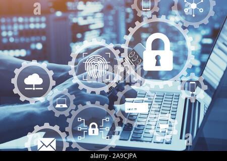 Concept de sécurité réseau Internet avec des icônes d'accès sécurisé, la biométrie technologie de mot de passe, la protection des données contre les cyberattaques, la cybersécurité Banque D'Images