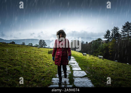 Une jeune femme, randonneur, l'ascension d'une montagne à l'hiver froid pluie dans le Derbyshire Peak District National Park, saison d'hiver dans la campagne britannique