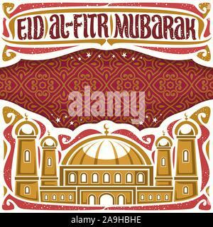 Vector affiche pour maison de l'Eid al-Fitr avec copie espace, headline avec s'épanouit, police calligraphique pour mots Eid al Fitr Moubarak, illustration de mosq Banque D'Images