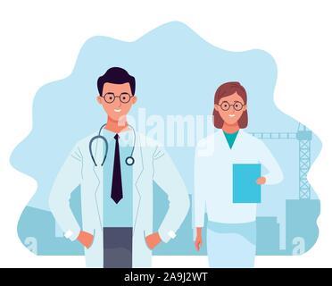 Caricature docteur homme et une infirmière, un design coloré