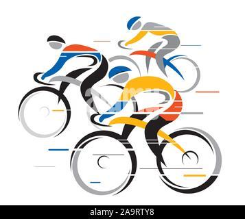 Le coureur de vélo de route. Illustration stylisée colorés de cyclistes.isolé sur fond blanc. Vector disponibles. Banque D'Images