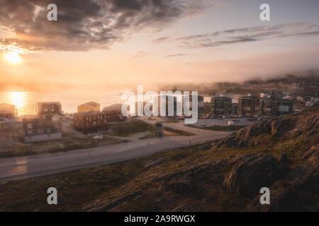 Qinngorput, nouveau quartier à Nuuk. Capitale du Groenland. Banque D'Images