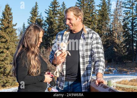 Joli jeune couple partage un moment spécial ensemble sur un pont en bois dans un parc sur un après-midi d'hiver ensoleillé. Banque D'Images