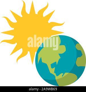 Planète terre soleil télévision droit vector illustration Banque D'Images