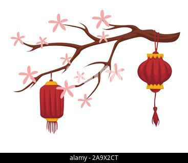 Sakura en fleurs et de lanternes de papier Chinois icône isolé