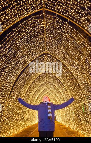 Londres, Royaume-Uni. 19 Nov, 2019. Cathédrale de lumière - Noël à Kew - la fête annuelle de l'affichage des feux saisonniers à Kew Gardens. Il s'exécute à partir du 20 novembre 2019 - 5 janvier 2020 Crédit: Guy Bell/Alamy Live News Banque D'Images