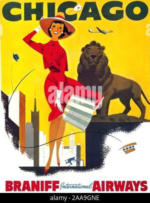 CHICAGO montré comme la ville du vent dans ce mangé 1950 poster. Banque D'Images