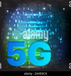 La technologie 5G l'arrière-plan. Nouvelle génération des réseaux mobiles et internet. Banque D'Images