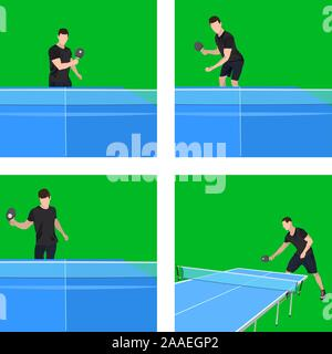 Jeu de ping-pong player jouer au tennis, jeu d'illustration vectorielle Banque D'Images