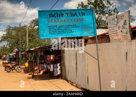 L'Éthiopie, de l'Omo, Turmi, du centre-ville, les soins Bereket signe clinique Banque D'Images