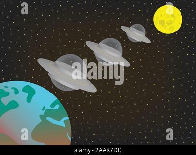 Trois vaisseaux spatiaux extraterrestres exotiques OVNI volant dans une ligne au-dessus et entre la terre et la lune. Les soucoupes volantes ovni planant dans le ciel nocturne. Banque D'Images