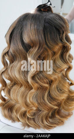 Santé des cheveux longs dans le salon de coiffure Banque D'Images