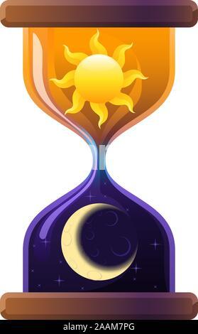 Sun & Moon Sablier Hourglass Sand Réveil. Vector Illustration Cartoon. Banque D'Images