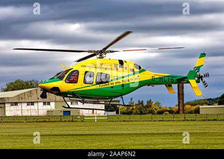 L'Air Ambulance, Wiltshire (C-GZLQ) G-WLTS Bell 429, hélicoptère à l'atterrissage à l'urgence Services Show 2018 Banque D'Images