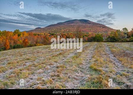 Scène du matin de givre sur un terrain avec des montagnes en arrière-plan dans la ville de Manchester, Vermont.