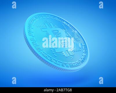 Rendu 3d illustration d'un bitcoin bleu Banque D'Images
